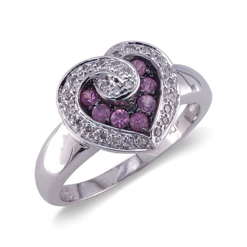 14K White Gold Heart Shaped Diamond and Pink Sapphire Ring Size 7.5