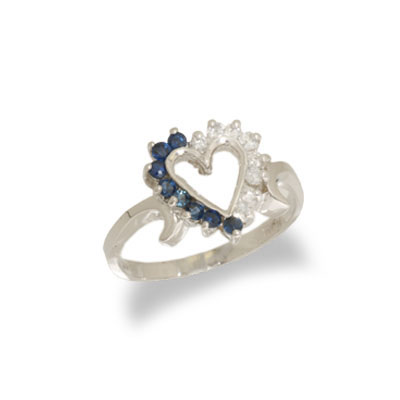 14K Gold Diamond and Sapphire Heart Shaped Ring Size 6.5