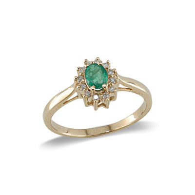 14K Yellow Gold Emerald and Diamond Ring Size 8