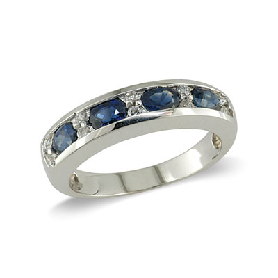 14K Gold Sapphire and Diamond Ring Size 10.75