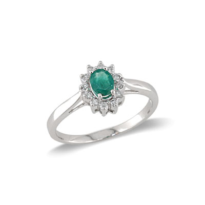 14K White Gold Emerald and Diamond Ring Size 6.5