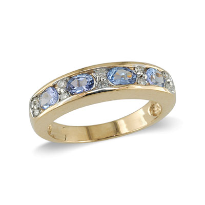 14K Gold Tanzanite and Diamond Ring Size 6.5