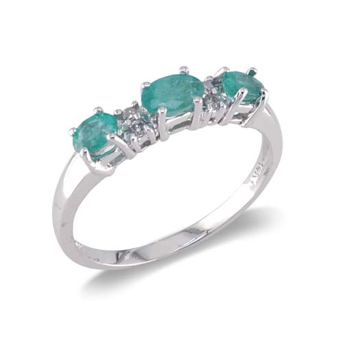 14K White Gold Diamond and Emerald Ring Size 6.5
