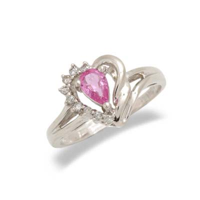 14K Gold Pink Sapphire and Diamond Heart Shaped Ring Size 8