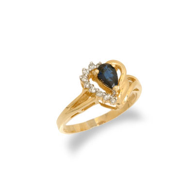 14K Gold Sapphire and Diamond Heart Shaped Ring Size 8.5