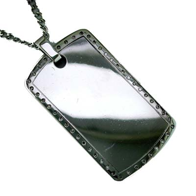 Stainless Steel and Diamond Men's Dog Tag Necklace