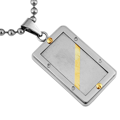 Mens Stainless Steel 14K Gold Diamond Necklace