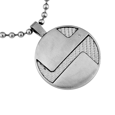 Mens Stainless Steel and Diamond Necklace
