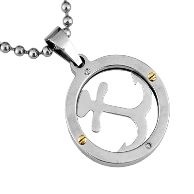 Mens 14K Gold and Stainless Steel Diamond Anchor Necklace