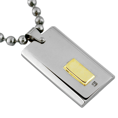 Mens 14k Gold Diamond Stainless Steel Dog Tag Necklace image
