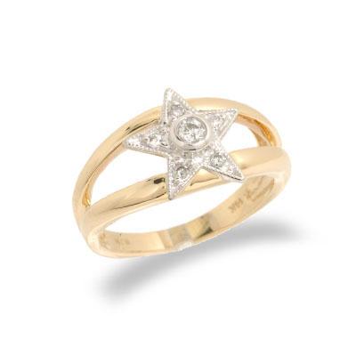 14K Two Tone Gold Diamond Ring Size 7.5