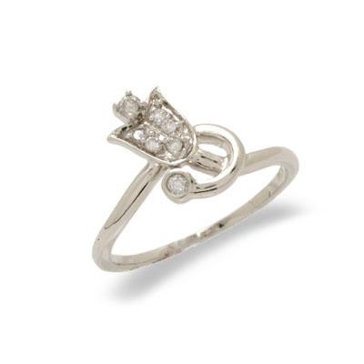 14K White Gold Diamond Ring Size 6.75