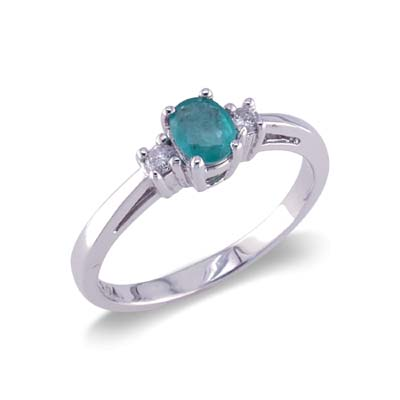 14K Gold Three Stone Diamond and Emerald Ring Size 8