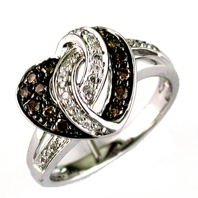 14K White Gold And Brown Diamond Heart Ring Size 6.5