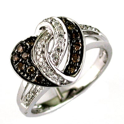 14K White Gold And Brown Diamond Heart Ring Size 7.5