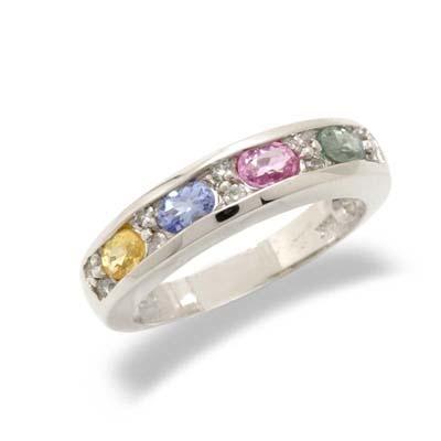 14K White Gold Diamond and Multi Gemstone Ring Size 6.5