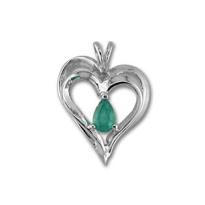 14K White Gold Emerald Heart Pendant