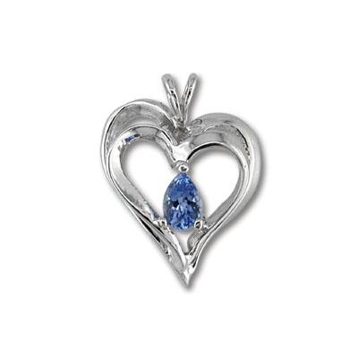 14K White Gold Tanzanite Heart Pendant