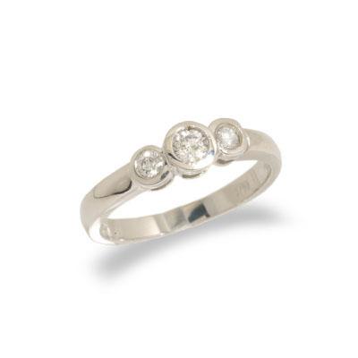 14K White Gold Three Stone Diamond Engagement Ring Size 6