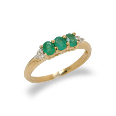 14K Gold Diamond and Emerald Ring Size 7.5