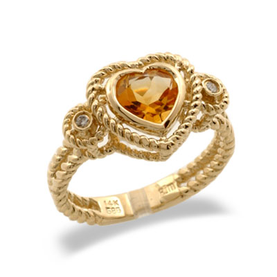 14K Yellow Gold Heart Shaped Citrine and Diamond Ring Size 8