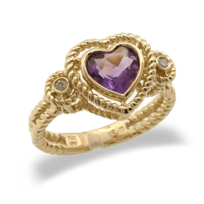 14K Yellow Gold Heart Shaped Amethyst and Diamond Ring Size 8