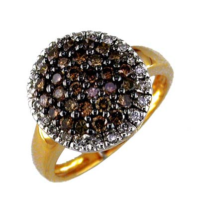 14K Yellow Gold Diamond and Brown Diamond Ring Size 6.5