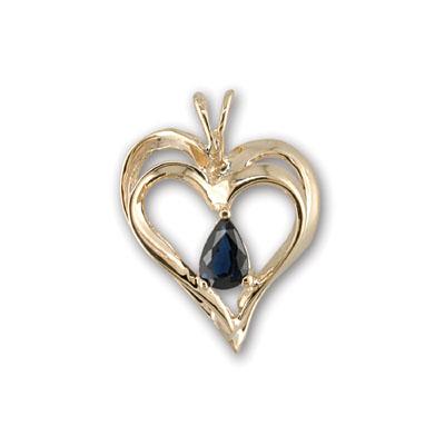 14K Yellow Gold Sapphire Heart Pendant