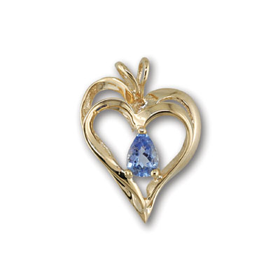 14K Yellow Gold Tanzanite Heart Pendant