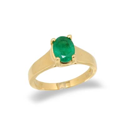 JewelryCastle 3-1570-GR-14KWG-7 1/2 14K Gold Oval Emerald Ring - Size 7.5