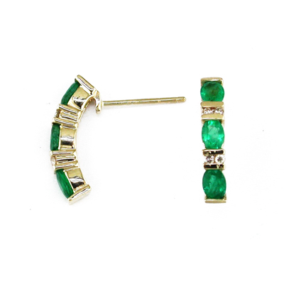14K Gold Diamond and Emerald Earring - Size: 7