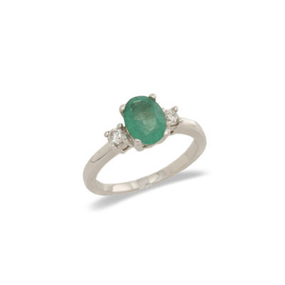 14K Gold Three Stone Emerald and Diamond Ring Size 7.5
