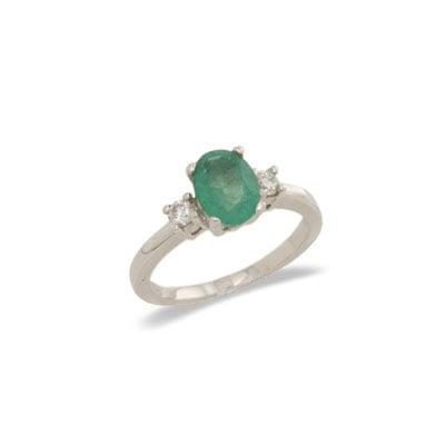 14K Gold Three Stone Emerald and Diamond Ring Size 6.5