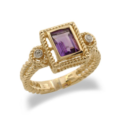 14K Yellow Gold Emerald Cut Amethyst and Diamond Ring Size 7