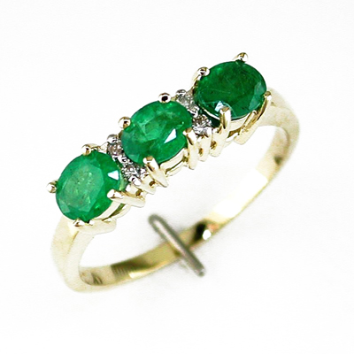 14K Gold Diamond and Three Stone Emerald Ring Size 8