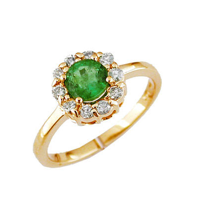 14K Diamond and Emerald Ring Size 7.5