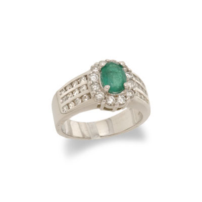 14K Gold Emerald and Diamond Ring Size 6.25