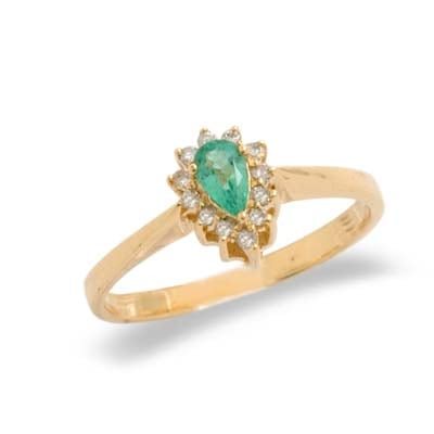 14K Yellow Gold Diamond and Emerald Ring Size 8