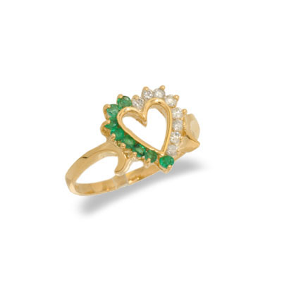 14K Yellow Gold Diamond and Emerald Heart Shaped Ring Size 7.5