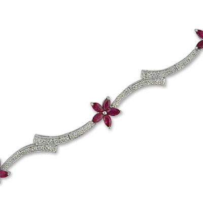 14K White Gold Diamond and Ruby Bracelet
