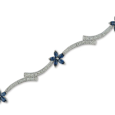 14K White Gold Diamond and Sapphire Bracelet