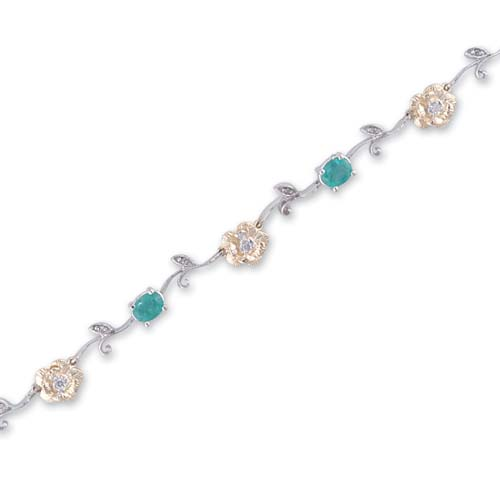 14K Two Tone Gold Diamond and Emerald Bracelet