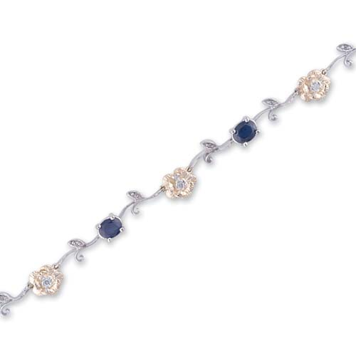 14K Two Tone Gold Diamond and Sapphire Bracelet