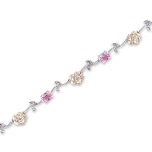 14K Two Tone Gold Diamond and Pink Sapphire Bracelet