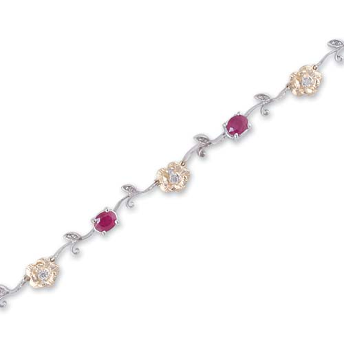 14K Two Tone Gold Diamond and Ruby Bracelet