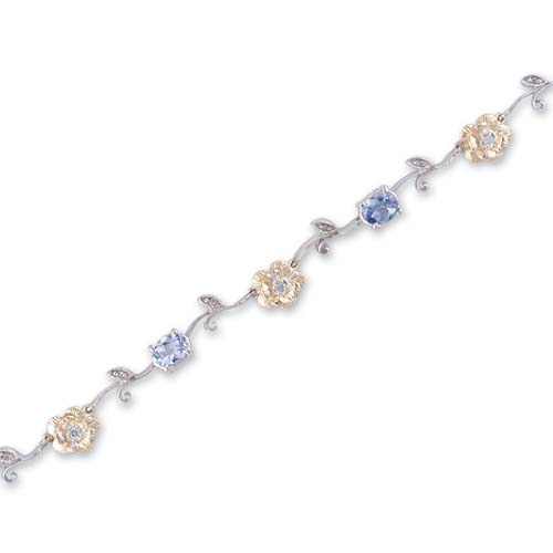 14K Two Tone Gold Diamond and Tanzanite Bracelet