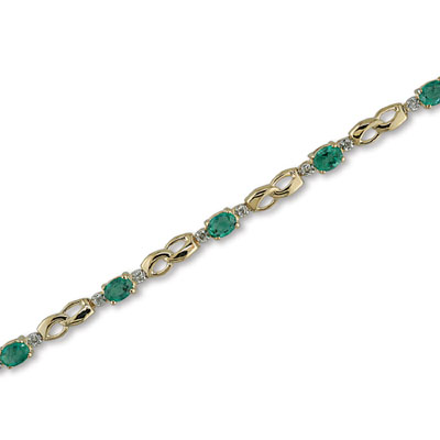 14K Gold Diamond and Emerald Bracelet
