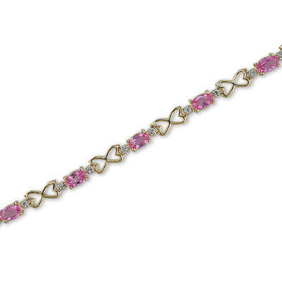 14K Gold Diamond and Pink Sapphire Bracelet