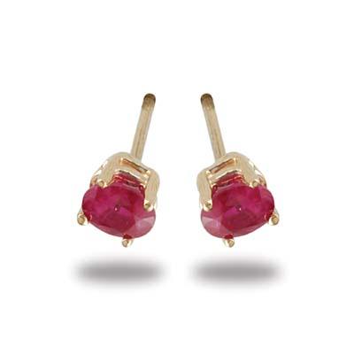 JewelryCastle 3-1192-GE-14KWG 14K Gold Oval Ruby Stud Earrings