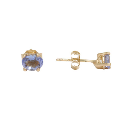 14K Gold Oval Tanzanite Stud Earrings